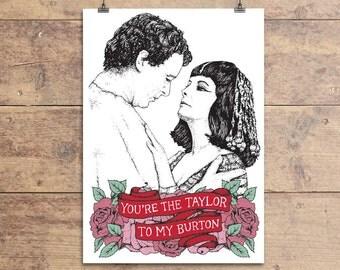 Elizabeth Taylor and Richard Burton - Valentine's Greeting Card