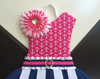 Tutu Hair Bow Holder Anchor Navy Blue Pink Hot Pink White Nautical Nursery