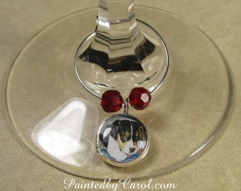 Beagle Wine Charms - Beagle Puppy, Hound, Set of Six Wine Charms