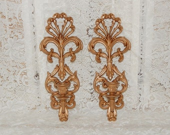Ornate Homco Wall Sconces Candle Holders Gold Sconces Wall Decor