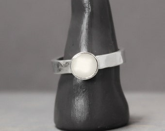 Selenite Ring, Silver Selenite Ring, Selenite Jewelry, Ring, Meditation Jewelry, Pewter Ring, Handmade Ring