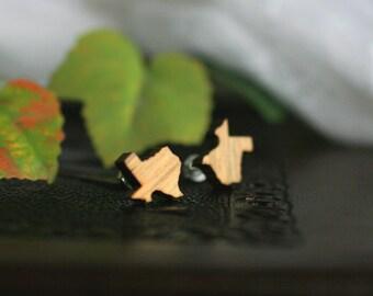 Texas Stud Earrings | Laser Engraved Wood