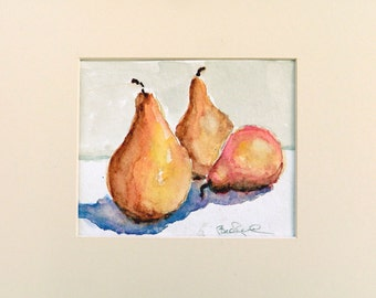 Pear Study - original watercolor painting