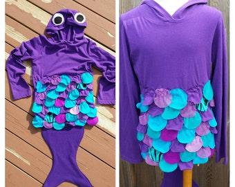 Upcycled Steampunk Clothing, Custom Purple Fish Costume - Upcycled Purple and Turquoise T-Shirts, The Little Mermaid, Youth Size 8, 10, 12