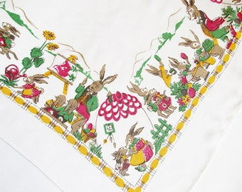 Lovely Old German Vintage Easter Spring Printed Tablecloth with Bunny School, Retro Ester Home Decor for Easter