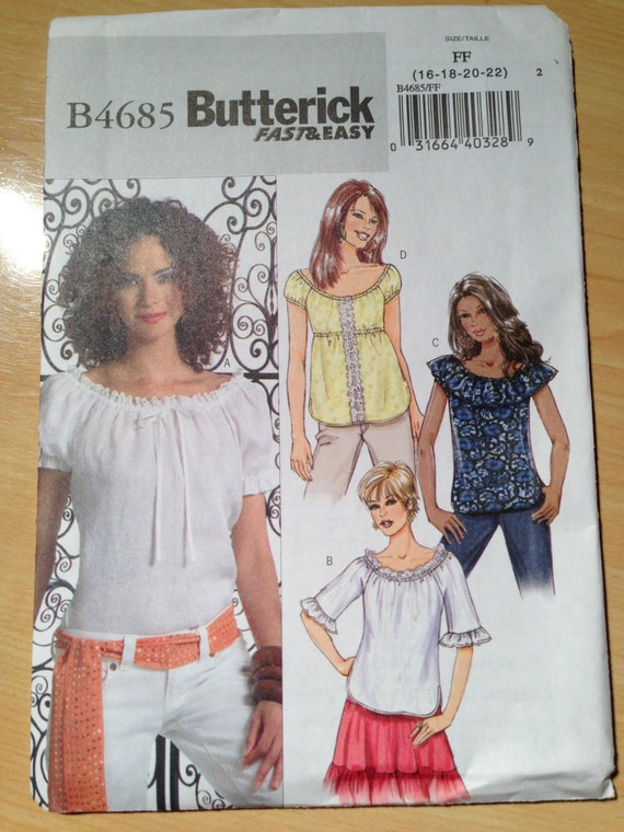 Butterick 4685 Sewing Pattern Misses Tops Uncut Size 16-22