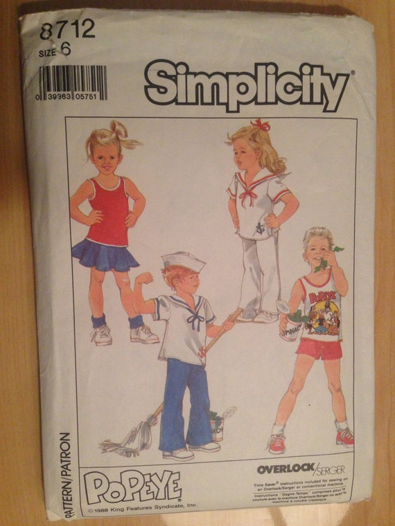 Simplicity 80s 8712 Sewing Pattern Child's Easy To Sew Knit Tops and Pull on Pants, Shorts and Skirt Size 6