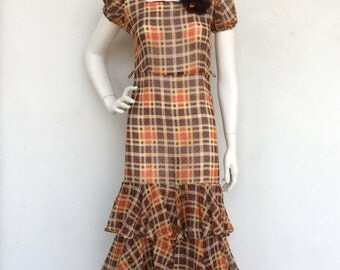 Amazing 1930's sheer plaid cotton day dress with ruffle and rosette detail