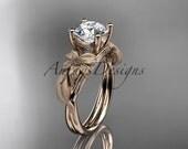 14kt rose gold leaf and vine engagement ring ADLR189