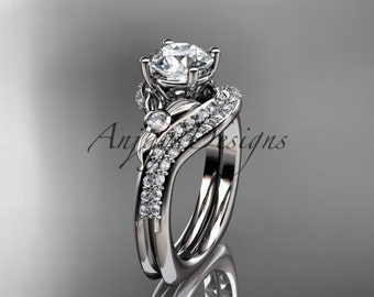 14kt  white gold diamond leaf and vine wedding ring,engagement ring Set ADLR112S