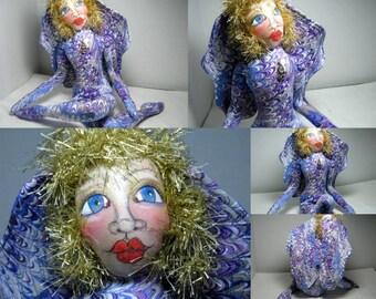Swirls Art Doll Fairy Faery OOAK Cloth Art Doll Purple Swirl Fabric