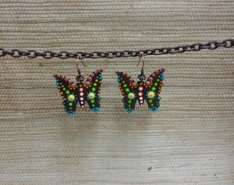 Aboriginal Dot Painted Butterfly Earrings