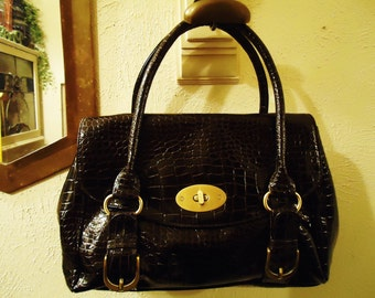 Vintage 1990s Dark Chocolate Brown Faux Croc Two Strap Front Buckle Handbag with Gold Colored Hardware Detail