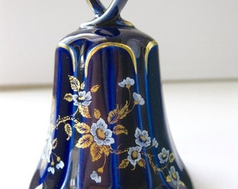 Linder Cobalt Bell 24 Carat Gold Etched Collectible West Germany Handarbelt Signed Porcelain Blue Flower Shaped