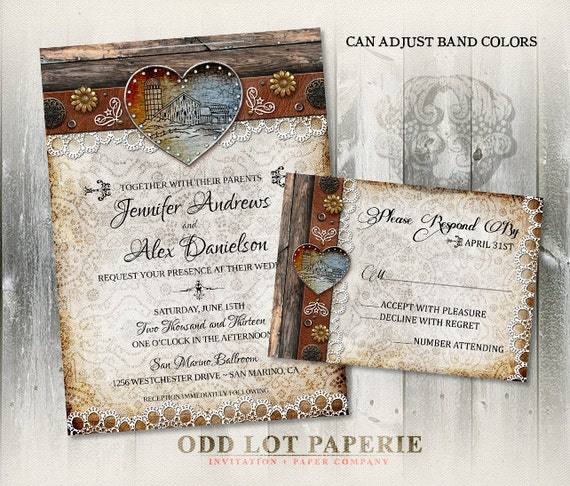 Barn Wedding Invitation printable, Rustic Wedding Invitation, Wedding Invite RSVP digital DIY Template, Lace Invitation< DIY Invite Rustic