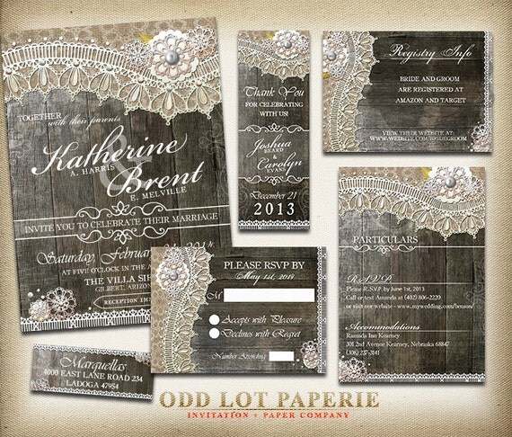Invitation Packages Wedding: Rustic Lace Wedding Invitation Package Rustic Wedding