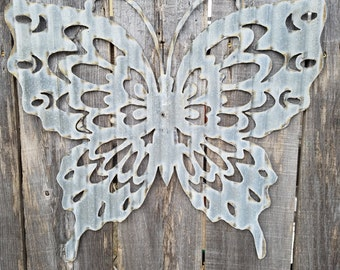 Butterfly Corrugated Metal Sign Free Shipping/ Garden Decor/ Spring/ Vintage