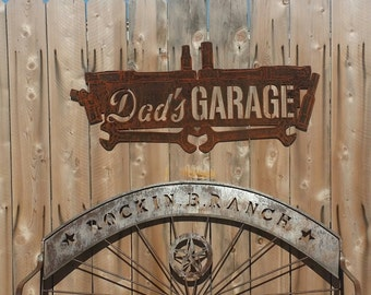 FREE SHIPPING Rusted Rustic Metal Dads Garage Tool Sign