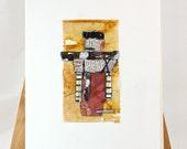 Original Tea Bag Art Collage, Greeting Card, OOAK