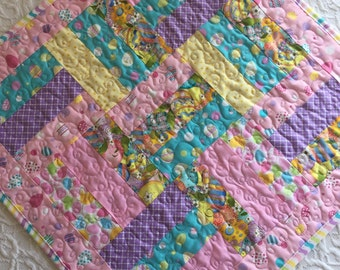 Easter Table Topper Quilt, Easter Table Runner, Easter Centerpiece, Pink, Yellow, purple, Spring, Easter Eggs, Handmade
