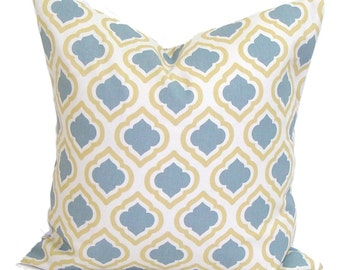 BLUE YELLOW EURO Pillow.22x22, 24x24, 26x26 or 27x27 inch.Pillow Cover.Decorative Pillows.Decorative Cover.Slate Gray.Cushion. Euro Sham