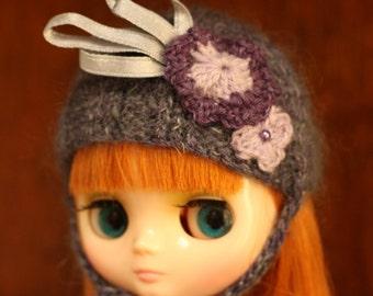 Hand Knit Purple/grey Middie Blythe helmet.
