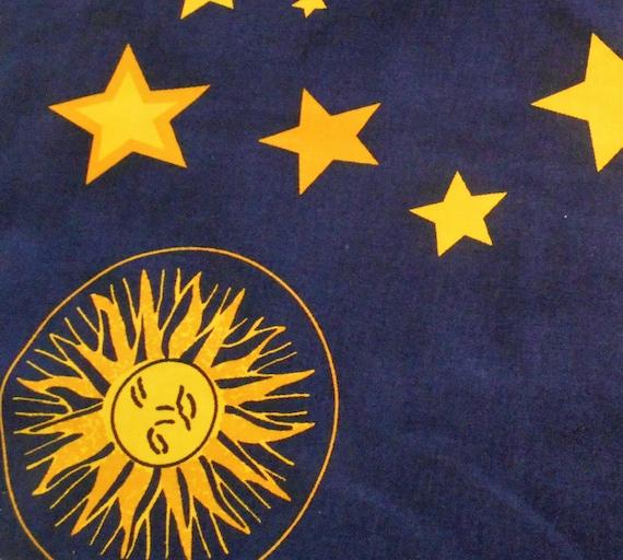Fabric moon sun and stars navy blue fabric curtain for Sun moon and stars fabric