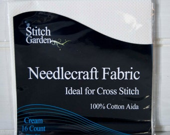 Aida Fabric 16 Count Cross Stitch Needlecraft Fabric Cream  30cm x 45cm  100 % Cotton - UK Shop - Craft Supplies