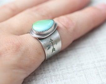 Aztec Turquoise Ring, Royston Turquoise Ring, Turquoise Saddle Ring, Size 7.5 Ring