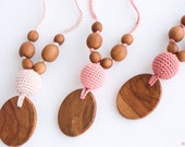 Silk & Wood Teething Necklace, Mom Necklace, Breastfeeding, Teething Beads, New Mom Gift / NP35