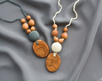 Silk & Applewood Nursing Necklace - Baby Teether, Breastfeeding, Teething Jewelry, Eco-Friendly - Freja Toys