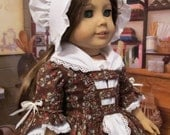 """Colonial Day Dress, Fichu and Long Eared Cap~ Clothes Made to Fit 18"""" American Girl Doll Felicity. A KeepersDollyDuds Original."""