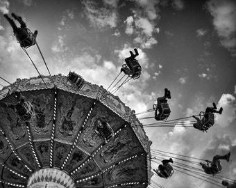Carnival Photo, swing ride, summer fair photo, county fair, black and white - 8x10 fine art photograph