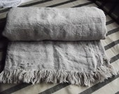 Pure Linen Bed Cover. Twin Full Size Natural Linen  Coverlet with Fringes. Beach blanket. Throw blanket.