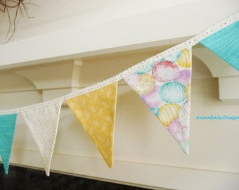Easter Bunting Banner, Easter Fabric Garland, Easter Photo Prop, Easter Mantle Decor, Reusable Fabric Banner