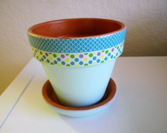 Hand Painted Decorative Clay Pot, Flower Pot, Candy Dish, Wedding Centerpiece