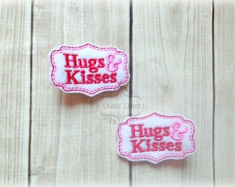 Valentines Day Hair Clip Hugs & Kisses Hair Clippie Pick one or two. Pick Left side or Right.