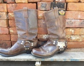 Ladies vintage Harley Davidson Harness Boots with Eagle Label and metal ankle plates, Brown. Fits 8.5.