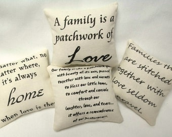 Family Home Set Of Mini Pillows Bowl Fillers