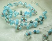 Light Blue Bead Crocheted Necklace Set, pink roses beaded jewelry, handmade wire crochet necklace