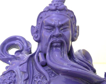 asian statue, asian sculpture, mid century decor, purple, asian art, kitschy
