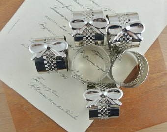 Vintage Silver Coloured Napkin Rings with Bows | Set of 6 |  Metal Serviette Holders | Bow Napkin Holders |