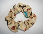 Colorful Southwestern Horses Tan fabric Hair Scrunchie, women's accessories, equine aztec kokopellis, womans scrunchies, horse lover gift
