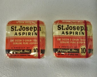 Vintage Lot of 2 St. Joseph 10 Cents Size Aspirin Tins Mint Still Full Sealed in Cellophane Collector tins