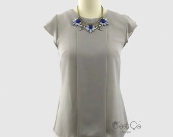 Rimma Dove Gray Top, Loose Fit Blouse, Shift Top, Career Blouse, Office Wear, Pale Gray Blouse