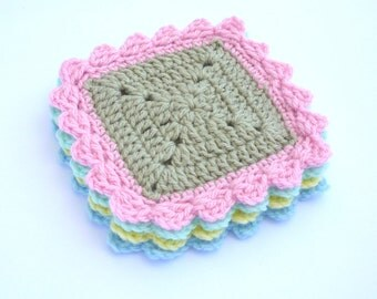 Crochet Square Coasters Pattern, Crochet Coaster Pattern, Crochet Pattern 015, Instant Download