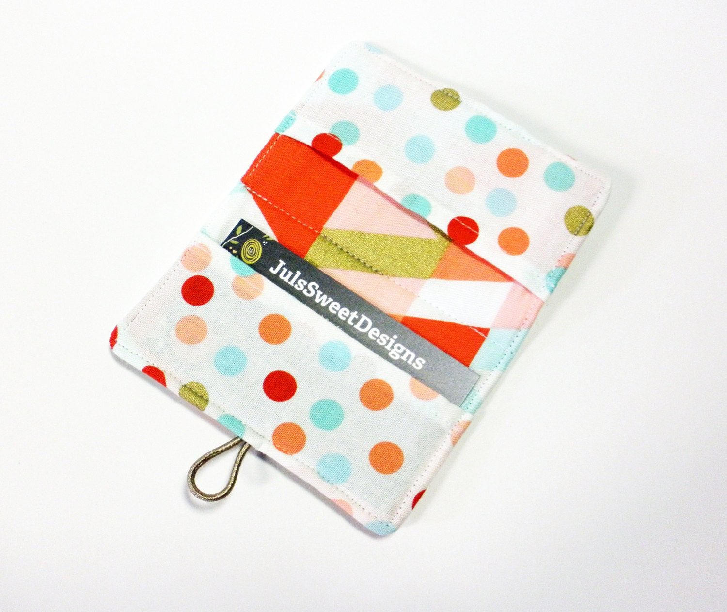 Coral Gold Geo Triangle Fabric Business Card Holder, with Coral Mint ...