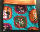 Day of the Dead Cotton and Orange Fleece Snuggle Bag