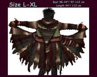 Elf coat, women eLF sWEATER, size L, size XL, Zipper Cardigan, women hoodie, sweater coat, patchwork , Sweater jacket, OOAK, dream coat