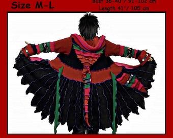 eLf cOAT, elf sweater, size M - L, sweater coat, pixie, hoodie, costume, gypsy sweater, patchwork coat, Recycled dress, ooak